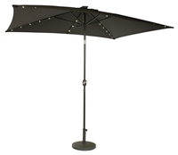 10' x 6.5' Rectangular Solar Powered LED Lighted Patio Umbrella by Trademark Innovations (Black)