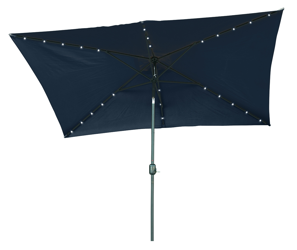 Blue Led Umbrella: 10' X 6.5' Rectangular Solar Powered LED Lighted Patio