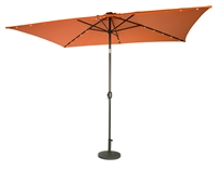 10' x 6.5' Rectangular Solar Powered LED Lighted Patio Umbrella by Trademark Innovations (Orange)