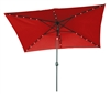 10' x 6.5' Rectangular Solar Powered LED Lighted Patio Umbrella by Trademark Innovations (Red)