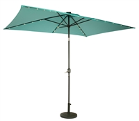 10' x 6.5' Rectangular Solar Powered LED Lighted Patio Umbrella by Trademark Innovations (Teal)