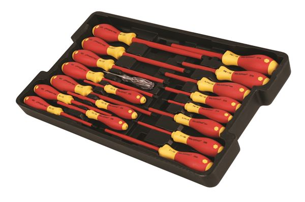 32095 wiha tools insulated screwdriver set in tray 19 pc. Black Bedroom Furniture Sets. Home Design Ideas