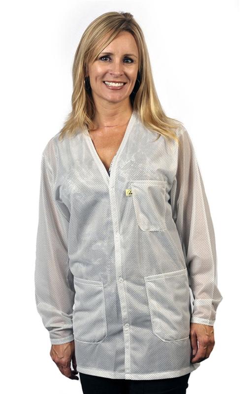 Voj 13c V Neck Lab Coat W Esd Grid Knit Cuffs Ofx 100