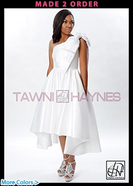 Asymmetrical One Shoulder Bow Gown