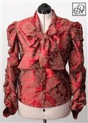 Damask Bow Blouse: V-Neck, Long Ruched Sleeves