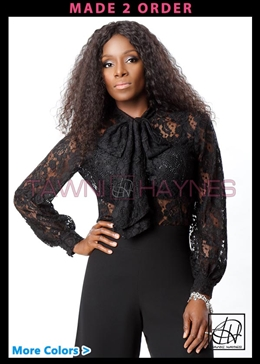 Tawni Haynes Long Sleeve Lace Bow Blouse