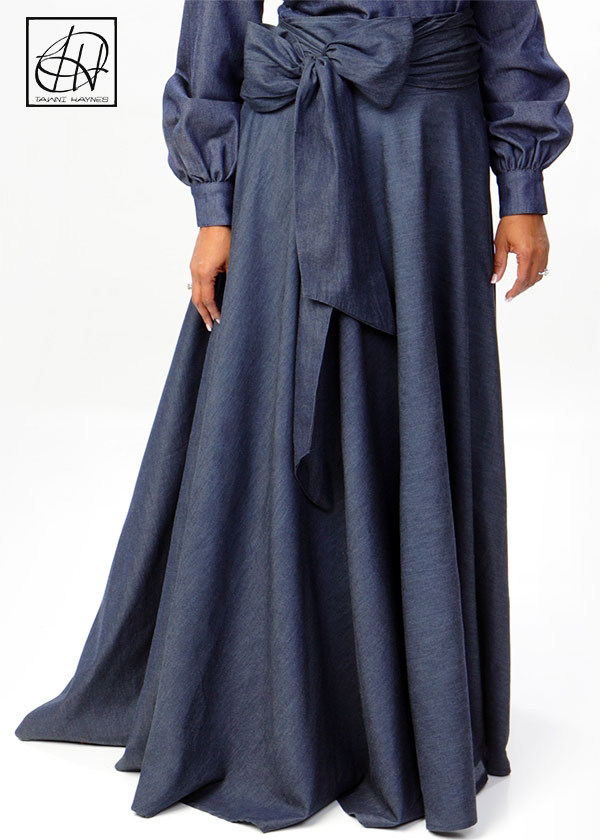 Long Full Skirt with Belted Waist Band