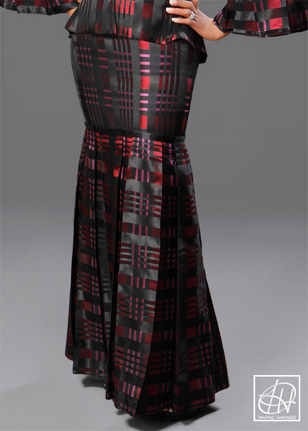 barrel pleat floor length pencil skirt