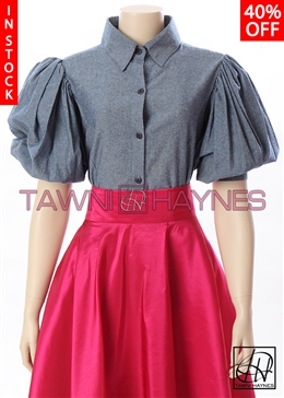 Tawni Haynes In-Stock Chambray Denim Puff Sleeve Blouse