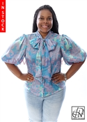 Tawni Haynes In-Stock Blue & Green Chiffon Bow Blouse