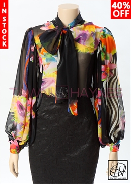 Tawni Haynes In-Stock Chiffon Long Exaggerated Puff Sleeve Floral Bow Blouse