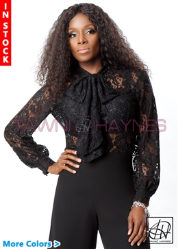 Tawni Haynes In-Stock Long Sleeve Lace Bow Blouse