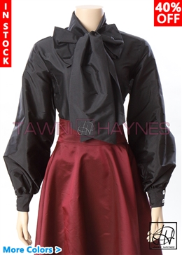Tawni Haynes In-Stock Poly Dupioni Long Gradual Puff Sleeve Bow Blouse