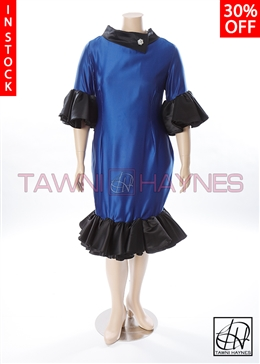 Poly Satin Blue & Black Ruffle Dress