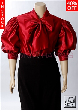 Tawni Haynes In-Stock Red Poly Satin Bow Blouse