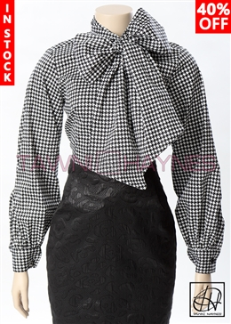 Tawni Haynes In-Stock Houndstooth Long Gradual Puff Sleeve Bow Blouse