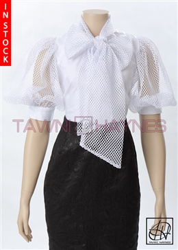 Tawni Haynes In-Stock Mesh Sleeve Bow Blouse