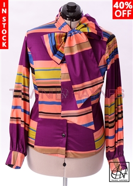 Tawni Haynes In-Stock Long Sleeve Striped Motif Bow Blouse