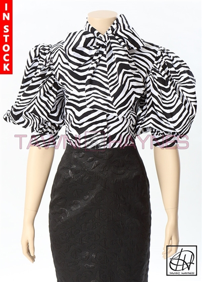 Tawni Haynes In-Stock Stretch Cotton Sateen Zebra Print Bow Blouse