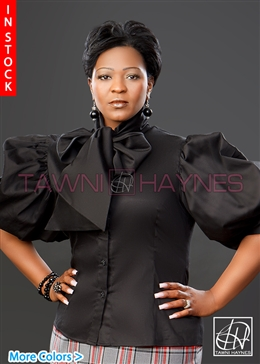 Tawni Haynes In-Stock Stretch Cotton Sateen Solid Bow Blouses