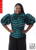 Tawni Haynes In-Stock Teal & Black Striped Poly Dupioni Bow Blouse