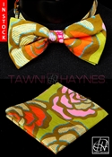 Tawni Haynes Floral Motif Stretch Cotton Bow Tie & Pocket Square