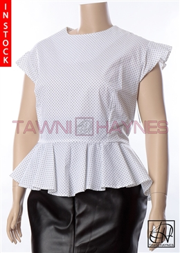 Tawni Haynes In Stock! Polka Dot Cap Sleeve Peplum Blouse