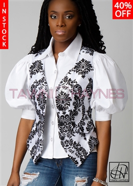 Tawni Haynes In-Stock White & Black Damask Taffeta Vest