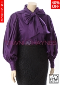 Tawni Haynes In-Stock Stretch Cotton Exaggerated Puff Sleeve Bow Blouse