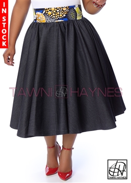 Tawni Haynes In-Stock Gathered High Waist Swing Skirt - Denim w/ Circular Motif Waist