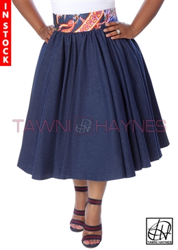 Tawni Haynes In-Stock Gathered High Waist Swing Skirt - Dark Denim w/ Navy Paisley Waist
