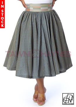 Tawni Haynes In-Stock Gathered High Waist Swing Skirt - Jade Jacquard w/ Multi-Color Waist