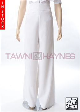 Tawni Haynes In-Stock White Crepe Pants
