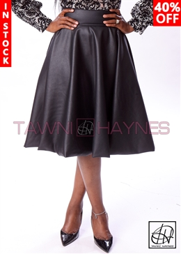 Tawni Haynes In-Stock Faux Leather High Waist Swing Skirt
