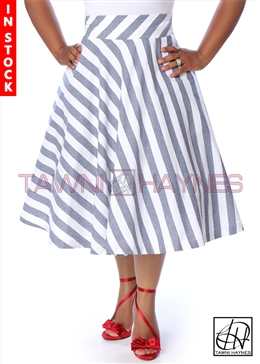 Tawni Haynes In-Stock High Waist Swing Skirt Knee Length -  Chambray Diagonal Striped Denim