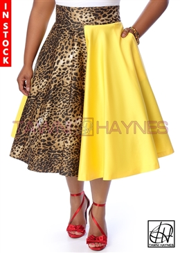 Tawni Haynes In-Stock High Waist Swing Skirt Knee Length - Leopard & Yellow Stretch Cotton