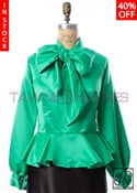 Tawni Haynes In-Stock Kelly Green Peplum Bow Blouse