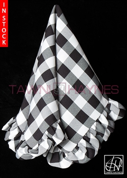 Tawni Haynes Lap Scarf - Checkered White Black Poly Poplin