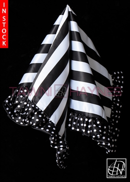 Tawni Haynes Lap Scarf - Striped White Black Poly Satin