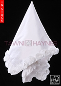 Tawni Haynes Lap Scarf - White Poly Dupioni with 3D Flowers