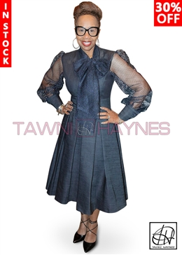 Tawni Haynes In-Stock Mesh Sleeve Pleated Bow Dress in Denim