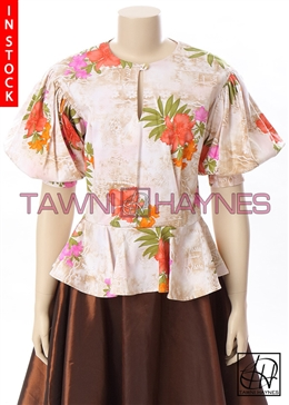 Tawni Haynes In-Stock Floral Stretch Cotton Peplum Blouse