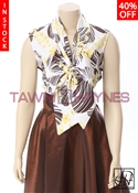 Tawni Haynes In-Stock Sleeveless Floral Stretch Cotton Bow Blouse