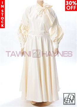 Tawni Haynes In-Stock Swing Bow Dress in Solid Poly Satin