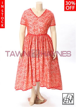 In Stock! Asymmetrical Lace V-Neck Swing Dress