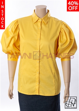 In-Stock! Yellow Stretch Cotton Standard Collar Blouse