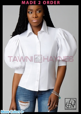 Standard Collar Puff Sleeve Blouse