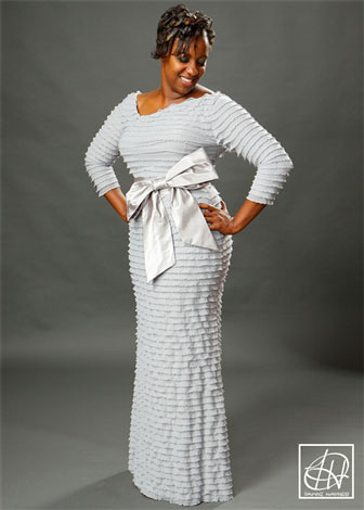 Tiered Jersey Knit Evening Gown w/ Bow Belt