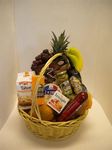 Gourmet gift baskets fruit cheese meat crackers goodies alternative views negle Image collections
