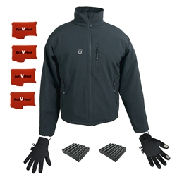 ActiVHeat Men's TurboHeat Jacket + Heated Glove Liners All Day Extreme Endurance Bundle